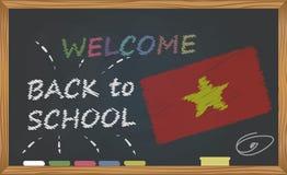 Dra tillbaka till skolan med lära och barndombegrepp Baner med en inskrift med kritavälkomnandet tillbaka till skolan och Vietnen royaltyfri illustrationer