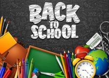Dra tillbaka till skolan med skolatillförsel och klotter på svart svart tavlabakgrund stock illustrationer