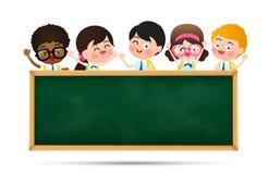 Dra tillbaka till skolan och ungar för tecknad film för utbildningsbegrepp lyckliga i stude vektor illustrationer