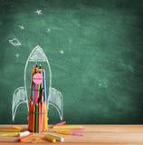 Dra tillbaka till skolan - Rocket Sketch Royaltyfri Fotografi