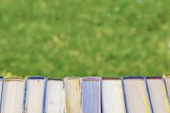 Dra tillbaka till skolan, samlar en hög av tjocka gamla böcker, biblar och psalmer som sitter på gräset fotografering för bildbyråer