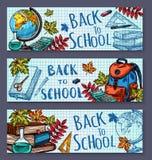 Dra tillbaka till skolan skissar brevpappervektorbaner vektor illustrationer