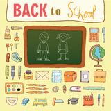 Dra tillbaka till skolan, symboler, vektorillustration Royaltyfri Fotografi