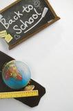 Dra tillbaka till skolan Toy Chalkboard Fotografering för Bildbyråer