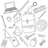 Dra tillbaka till skolan, uppsättning av illustrationen för vektorn för skolatillförsel vektor illustrationer