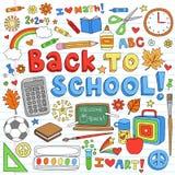 Dra tillbaka till skolar beståndsdelar för tillförselvektordesign stock illustrationer