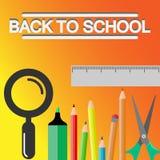 Dra tillbaka till skolatitelord med kulöra blyertspennor, Scissor, förstoringsapparaten och linjalen i en gul texturbakgrund vektor illustrationer