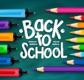 Dra tillbaka till skolatitelord som är skriftliga i en grön svart tavla Fotografering för Bildbyråer