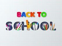 Dra tillbaka till skolatypografidesignen med realistiska skolatillförsel Royaltyfri Foto