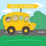 Dra tillbaka till skolaungar som rider på bussen vektor royaltyfri illustrationer