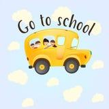 Dra tillbaka till skolaungar som rider på bussen vektor stock illustrationer