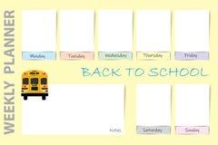 Dra tillbaka till skolaveckostadsplanerarevektorn på den gula bakgrunden Royaltyfria Foton