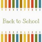 Dra tillbaka till skolavektorbakgrund med färgblyertspennor Arkivfoto