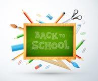 Dra tillbaka till skolavektorillustrationen med kritabrädet, blyertspennan, rul arkivbilder