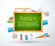 Dra tillbaka till skolavektorillustrationen med kritabrädet, blyertspennan, rul Arkivfoto
