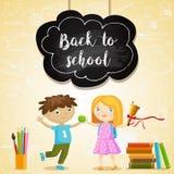 Dra tillbaka till skolavektorillustrationen med ungar royaltyfri illustrationer