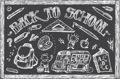 Dra tillbaka till skolavektoruppsättningen Arkivbilder