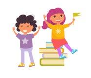 Dra tillbaka till skolbarnläsebokvektorn cartoon vektor illustrationer