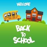 Dra tillbaka till skolbussen bär barnstudien Arkivbild