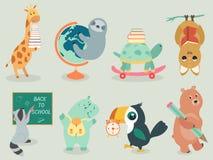 Dra tillbaka till stil för teckenet för skolan den djura dragen handen stock illustrationer