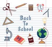 Dra tillbaka till symboler för skolatillförsel uppsättningen Royaltyfria Bilder