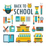Dra tillbaka till symboler för skolalägenhetdesignen uppsättningen som isoleras på vit del 2 Arkivfoto