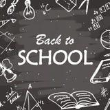 Dra tillbaka till typografisk bakgrund för skolan Frihandsteckningssymbolsbeståndsdelar på den svart tavlan Skissa vektorillustra Royaltyfria Foton
