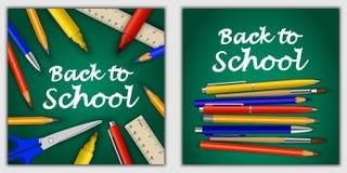 Dra tillbaka till uppsättningen för begreppet för skolabanret, realistisk stil royaltyfri illustrationer