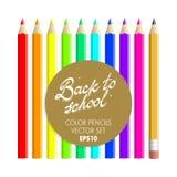 Dra tillbaka till uppsättningen för vektorn för skolafärgblyertspennor Arkivfoto
