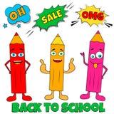 Dra tillbaka till vertikal bakgrund för skolan med blyertspennor för popkonst Royaltyfri Fotografi