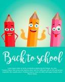 Dra tillbaka till vertikal bakgrund för skolan med realistiska blyertspennor Arkivfoton