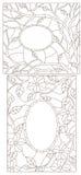 Dra upp konturerna av den fastställda illustrationen med målat glass i en abstrakt ram med blommor, sidor och filialer Royaltyfria Foton