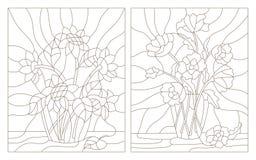 Dra upp konturerna av uppsättningen av illustrationer av målat glassbuketten av vallmo och solrosor i en vas Royaltyfri Bild