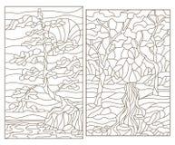 Dra upp konturerna av uppsättningen med illustrationer av målat glass av landskap med träd royaltyfri illustrationer