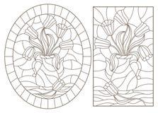 Dra upp konturerna av uppsättningen med illustrationer, buketter av blommor i vaser, mörkerkonturer på en vit bakgrund stock illustrationer