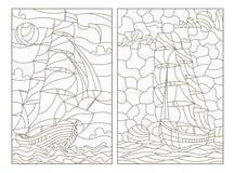 Dra upp konturerna av uppsättningen med illustrationer av målat glass, seascape, skepp som seglar på bakgrunden av den molniga hi royaltyfri illustrationer