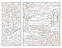 Dra upp konturerna av uppsättningen med illustrationer av målat glass Windows med landskap, floden och det ensamma trädet, mörker Arkivbilder