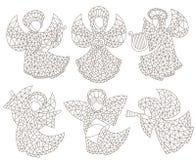 Dra upp konturerna av uppsättningen med målat glassänglar och stjärnor, konturdiagram på en vit bakgrund arkivfoton