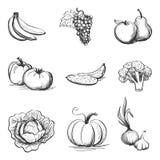 Dra uppsättningen av symbolsgrönsaker och frukter Royaltyfri Foto