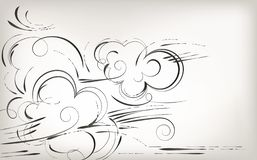 Dra vid handen, borstenaturen och växter, svartvit bakgrund stock illustrationer
