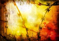 Draad met weerhaken en de achtergrond van de Scheermes royalty-vrije stock afbeeldingen