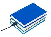 Draad van boeken verbond geïsoleerden USB. Royalty-vrije Stock Afbeeldingen