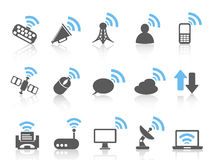 Draadloos communicatie pictogram, blauwe reeks vector illustratie