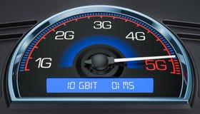 Draadloos de evolutie5g concept van de netwerksnelheid, het 3D teruggeven vector illustratie