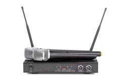 Draadloos microfoons en zendersysteem Stock Foto