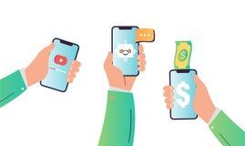 Draadloos Mobiel Technologieënconcept Handen die smartphone houden Internet-Bankwezen, de Video Stromende Dienst royalty-vrije illustratie