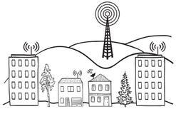 Draadloos signaal van Internet in huizen stock illustratie