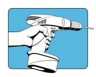 Draadloze Boor en Gebruiker Stock Afbeeldingen