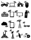 Draadloze communicatienetwerk bedrijfs zwarte geplaatste pictogrammen Stock Fotografie