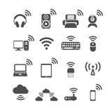 Draadloze het pictogramreeks van de technologiecomputer, vectoreps10 Royalty-vrije Stock Afbeeldingen